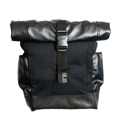 Recycled Tire & Vinyl Backpack handmade in Cambodia | Global Goods Partners conscious purchase give back gifts men guy roll-up roll-top black sustainability environmental friendly