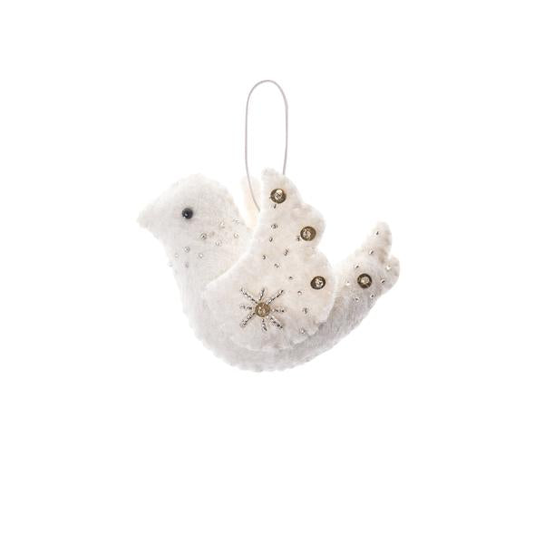 embellished felt dove ornament, holiday decor, handmade in Nepal, Global Goods Partners