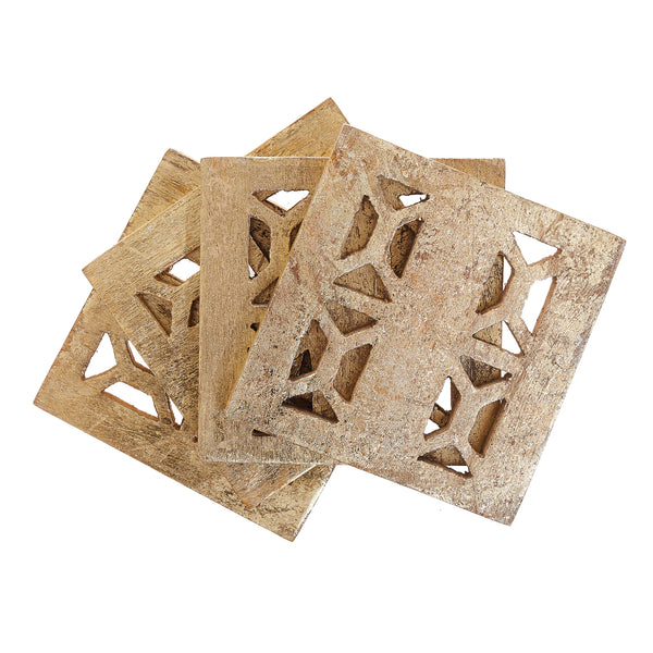 Square Gold Mango Wood Coasters, Set of Four