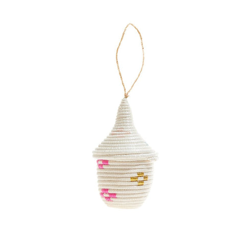 PRE-ORDER: Rwandan Peace Ornament - White, Pink & Blue