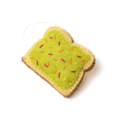 Felt Avocado Toast Ornament