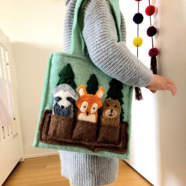 Woodland Friends Kids Puppet Bag