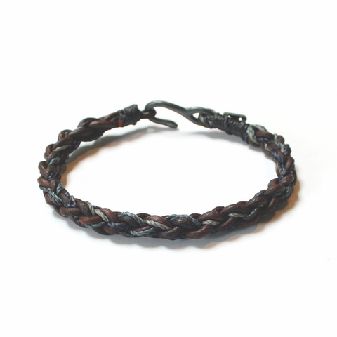 Men's Leather Braided Bracelet, blue: Handmade Guatemala stacking bracelet vintage fairtrade wholesale
