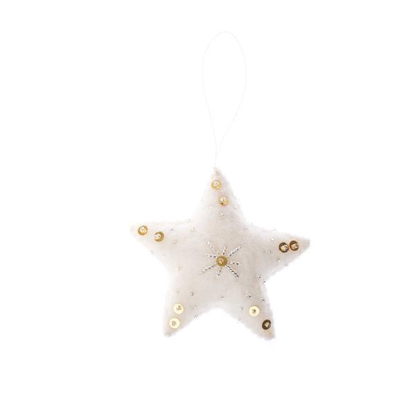 embellished felt star ornament, holiday decor, handmade in Nepal, Global Goods Partners