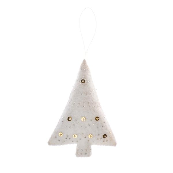 embellished felt tree ornament, holiday decor, handmade in Nepal, Global Goods Partners