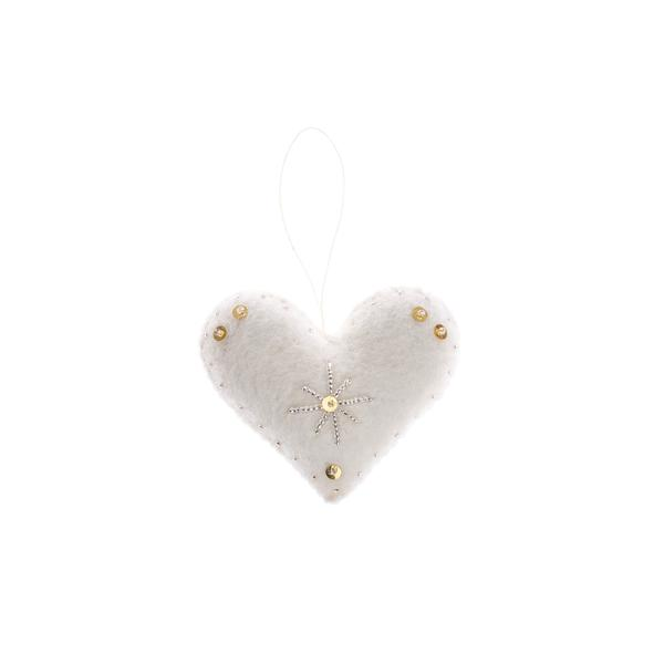 embellished felt heart ornament, holiday decor, handmade in Nepal, Global Goods Partners