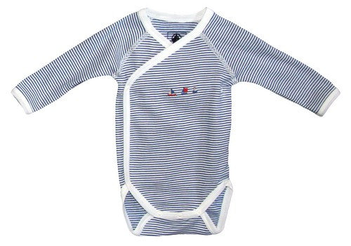 Petit Bateau Long Sleeve Striped Crossover Bodysuit