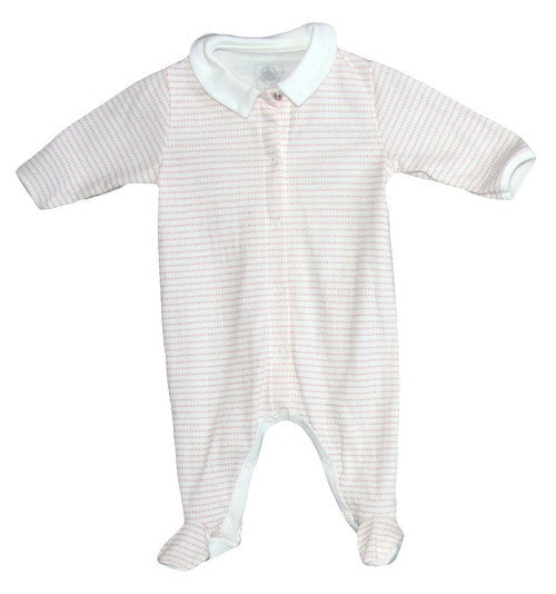 Petit Bateau Star Print Front Snap Footie with Collar