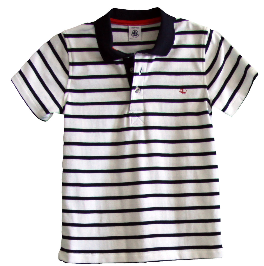 Petit Bateau Boy Short Sleeve Striped Polo