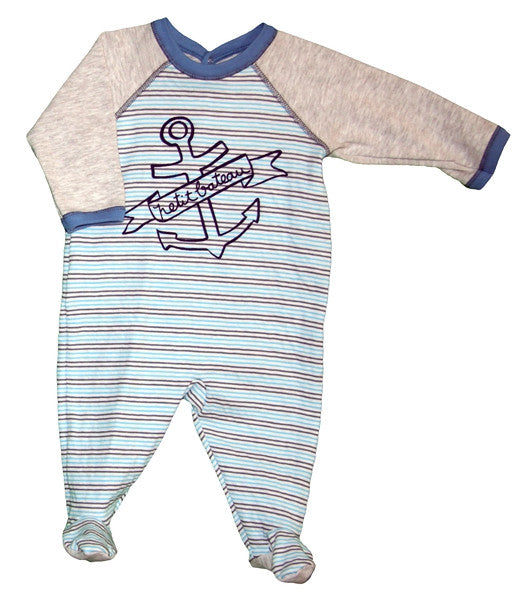 Petit Bateau Striped Back Snap Footie with Graphics