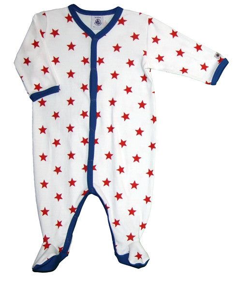 Petit Bateau Star Print Front Snap Footie/White and Red
