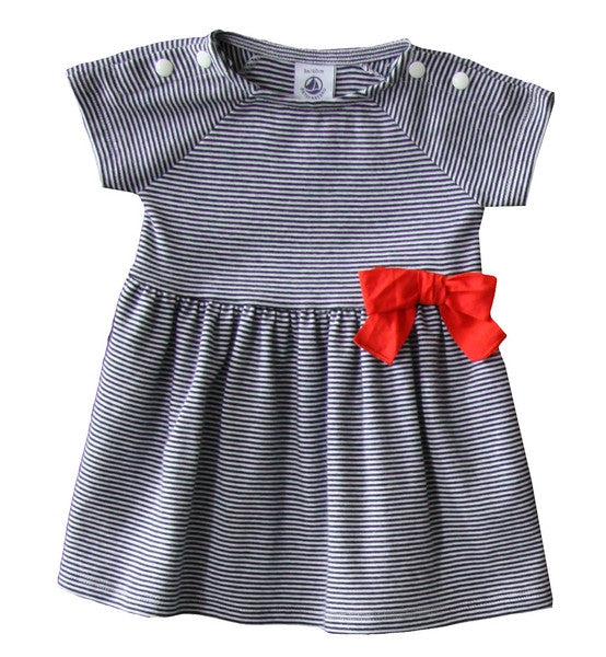Petit Bateau Baby Girl SS Striped Dress with Bow