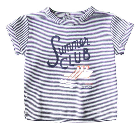 Petit Bateau Baby Boy SS Striped Tee with Graphics