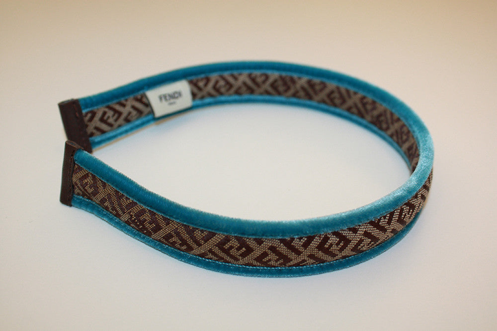 Fendi Logo Headband with Blue Trim