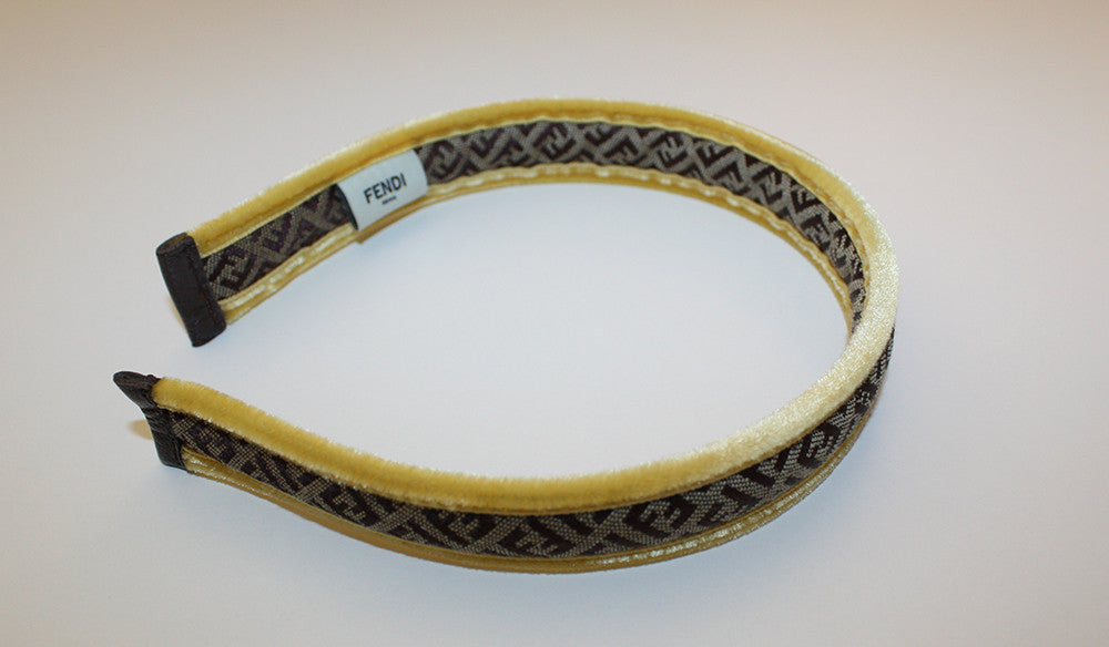 Fendi Logo Headband with Yellow Trim