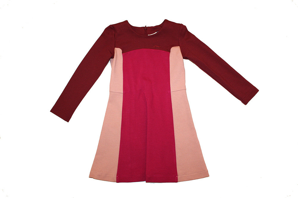 Fendi Long Sleeve Colorblock Dress