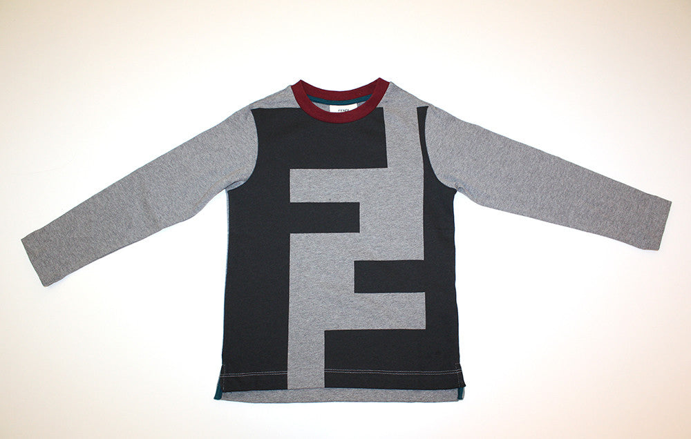 Fendi Boys Long Sleeve Shirt with Black Logo