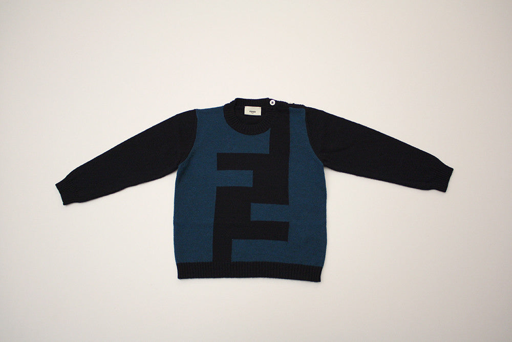 Fendi Navy and Teal Logo Sweater
