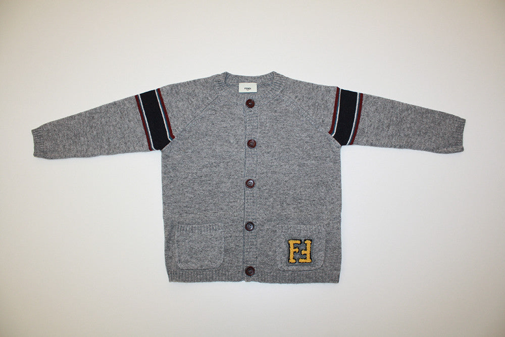 Fendi Baby Boy Cardigan with Stripe on Sleeves