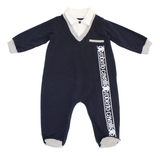 Roberto Cavalli Baby Boy V-Neck Footsie with Shirt Collar/Navy