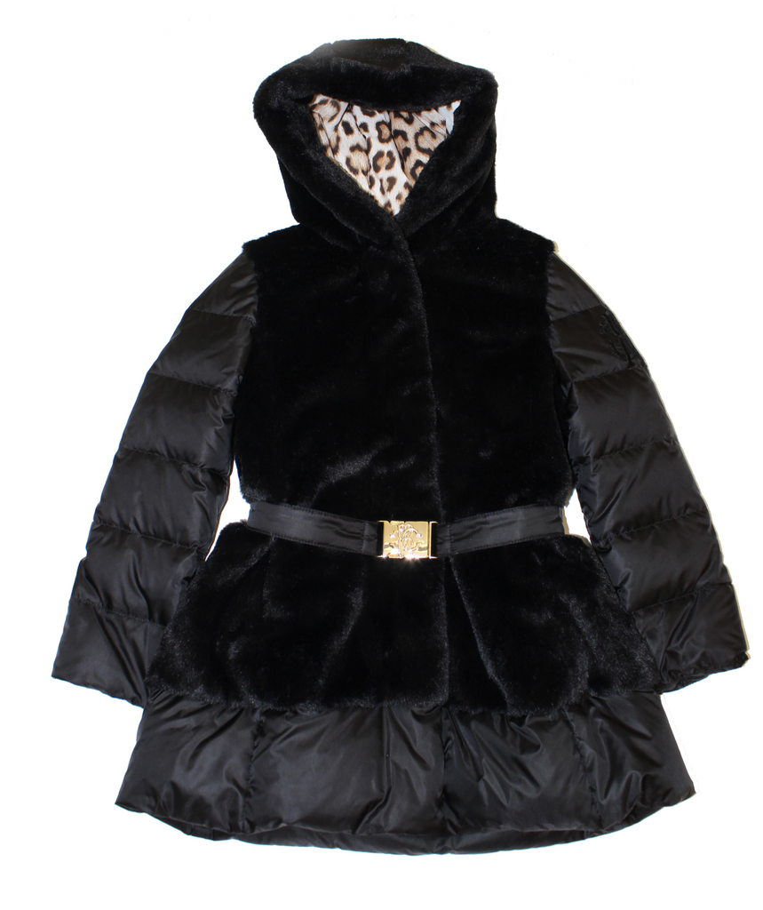 Roberto Cavalli Girls Hooded Medium Length Down Jacket/Midnight Bl