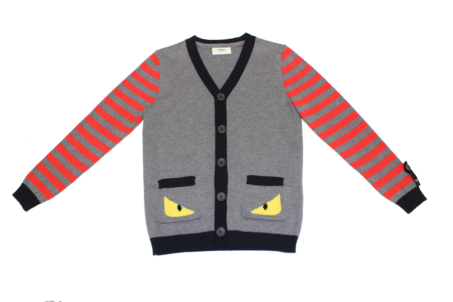 Fendi Boys Cardigan with Striped Sleeves and Eyes/Red