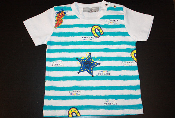 Young Versace Baby Boy Striped Graphic Print SS Tee