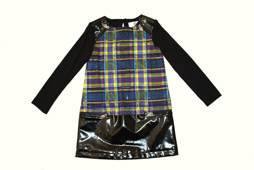 Young Versace Long Sleeve Plaid Dress