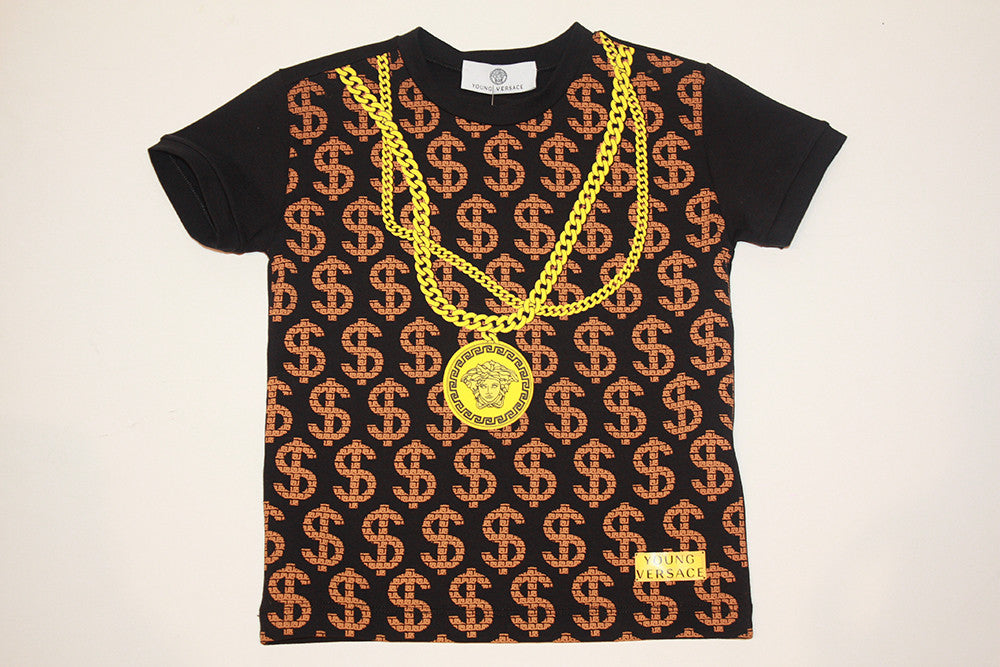 Young Versace Boys SS Tee W/ $$$$$ and Chain Necklace Print
