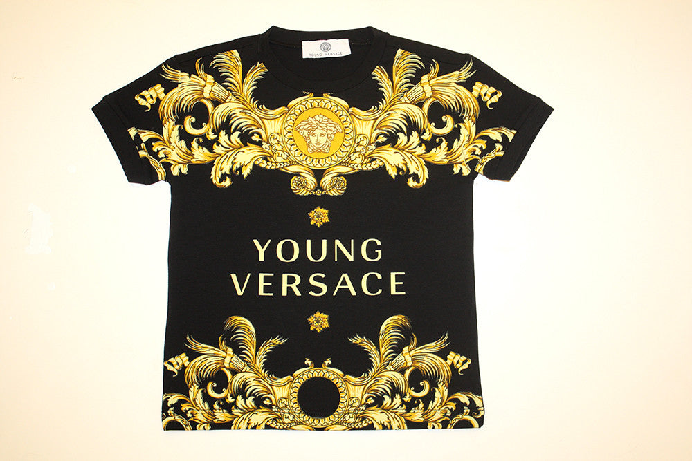 Young Versace Boys SS Gold Filigree and Logo Print Tee
