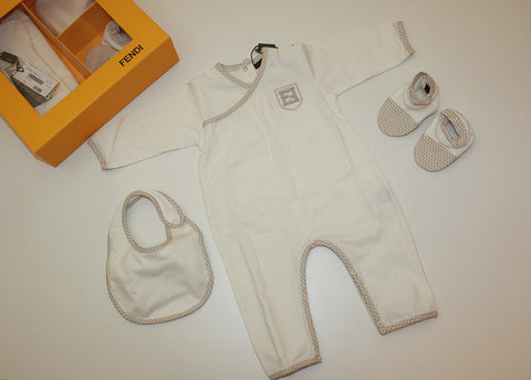 Fendi Baby Gift Set with Onepiece, Bib, and Bootie