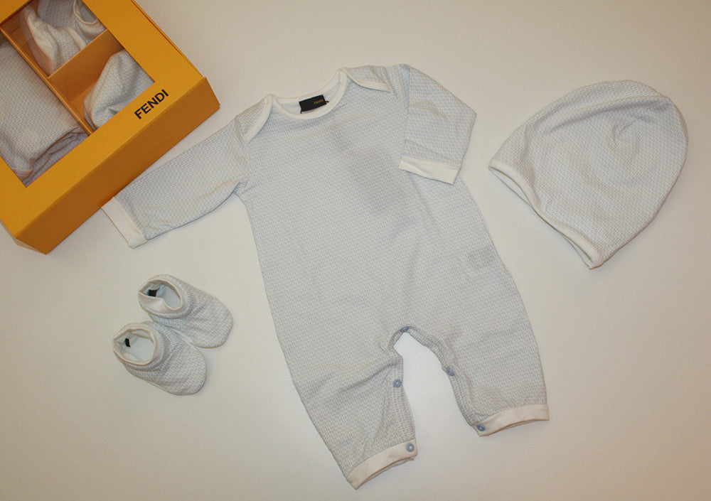 Fendi Baby Boy Gift Set with Body, Hat, and Booties