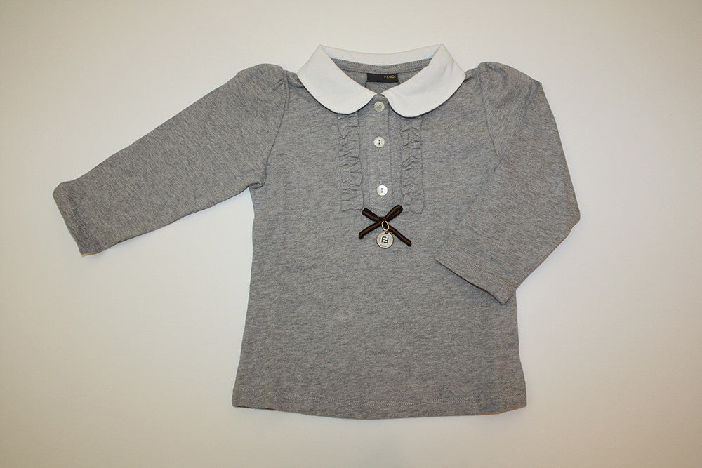 Fendi Girls Collared Shirt with Bow and Fendi Charm