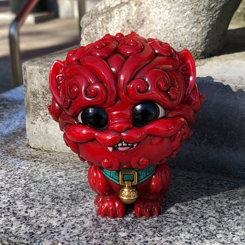 Shi-Shi the Tiny Guardian 4-inch Sofubi Vinyl Figure - Crimson Coral Edition