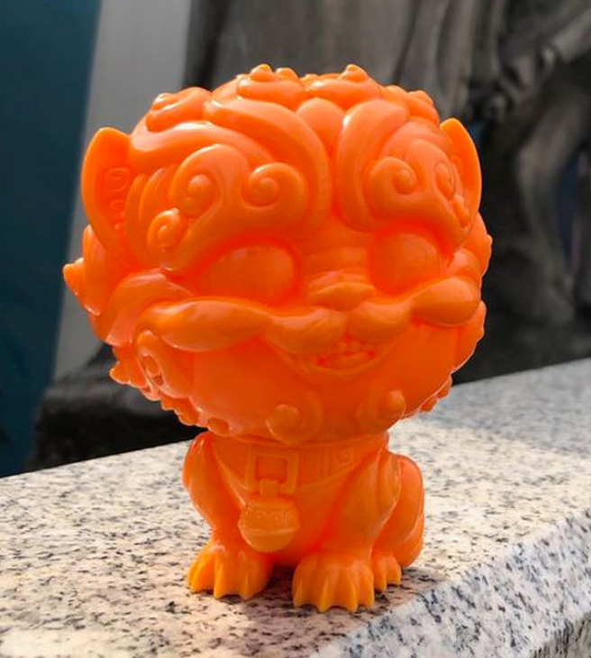 Shi-Shi the Tiny Guardian 4-inch Sofubi Vinyl Figure - Orange Edition