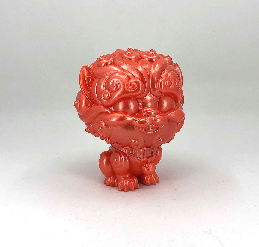 Shi-Shi the Tiny Guardian 4-inch Sofubi Vinyl Figure - Metallic Blood Orange Edition