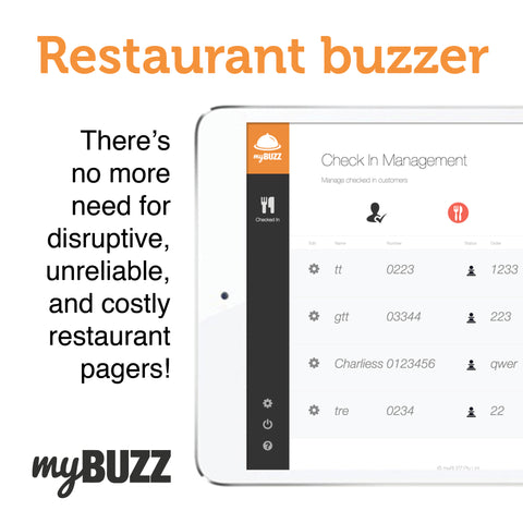myBUZZ restaurant buzzer admin portal for business