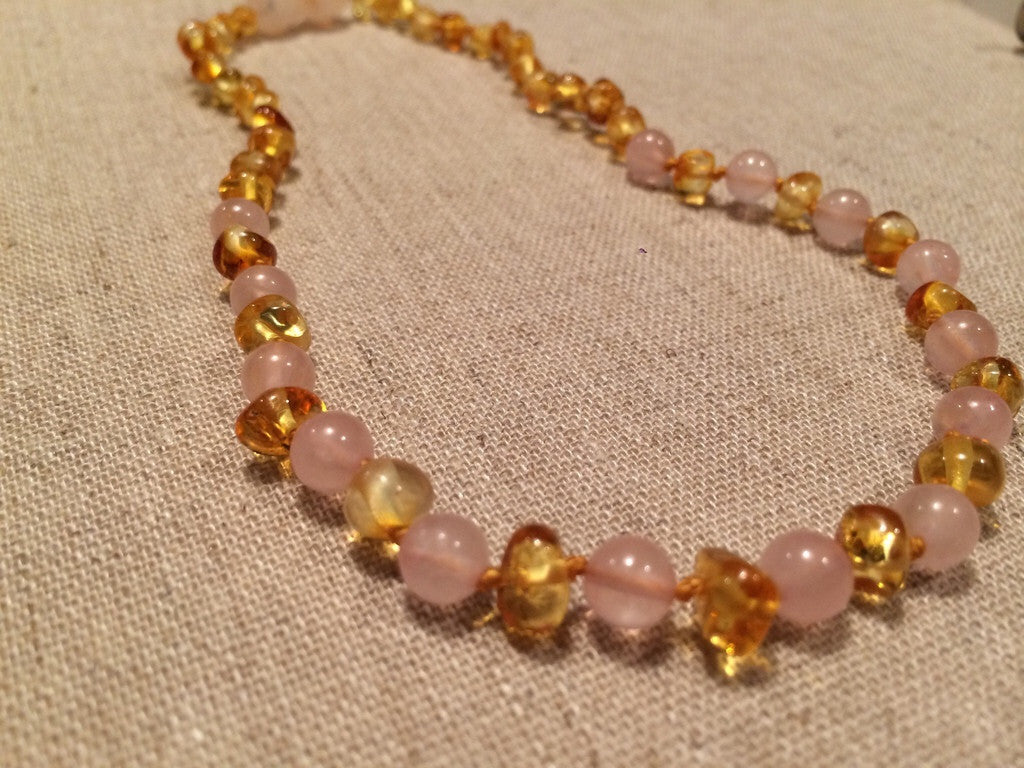 Polised Lemon with Pink Rose Quartz necklace