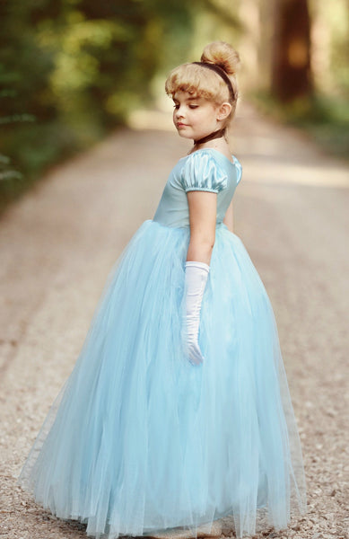 Girl's Cinderella Dress Costume or Birthday Outfit - Full Length Blue Tulle Dress