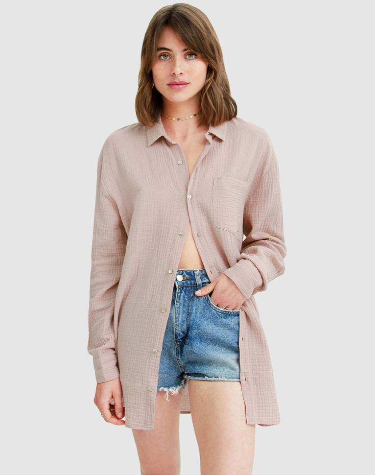Sand colourway long sleeve button down