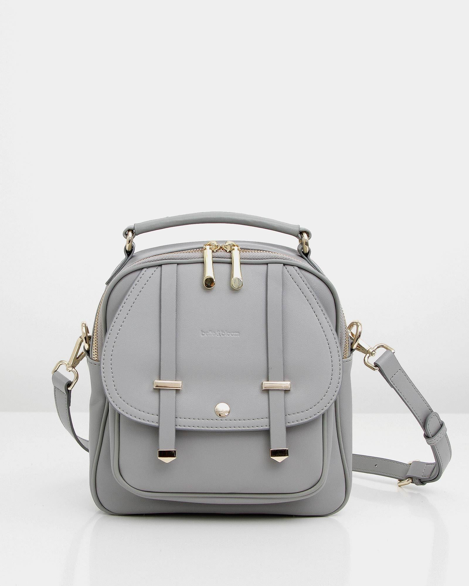 Camila Leather Backpack - Grey