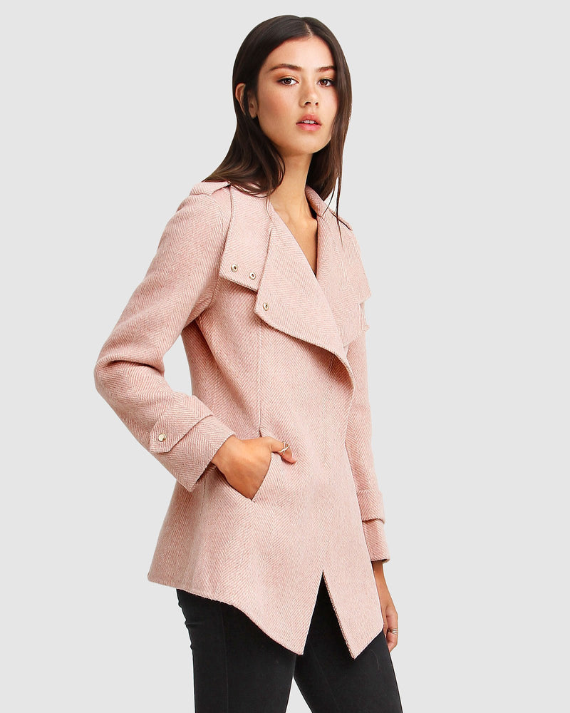 Bad Girl Wool Blend Moto Coat - Blush