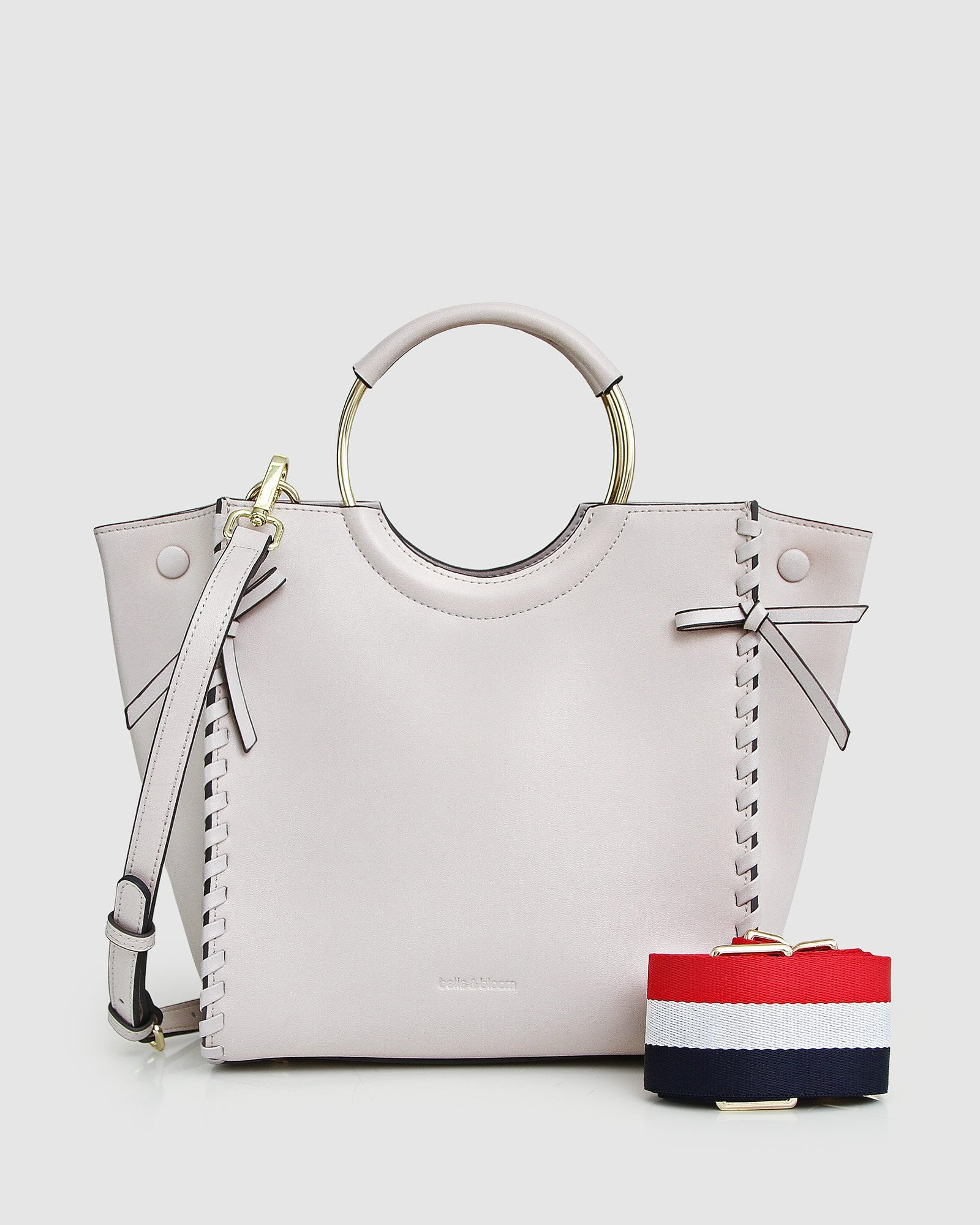 Belle-&-Bloom-cream-leather-basket-golden-ring-webbing-strap-front.jpg