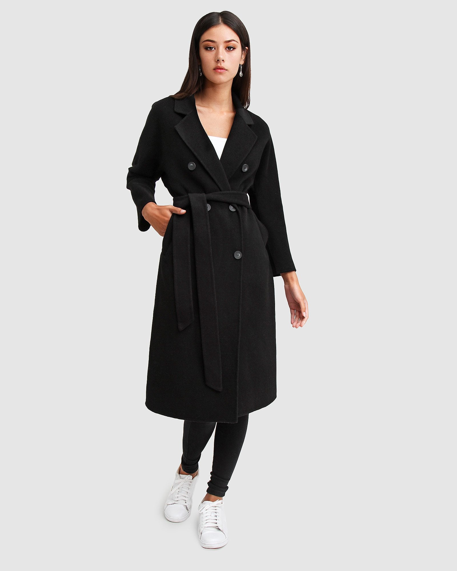 Boss Girl Double-Breasted Wool Coat - Black