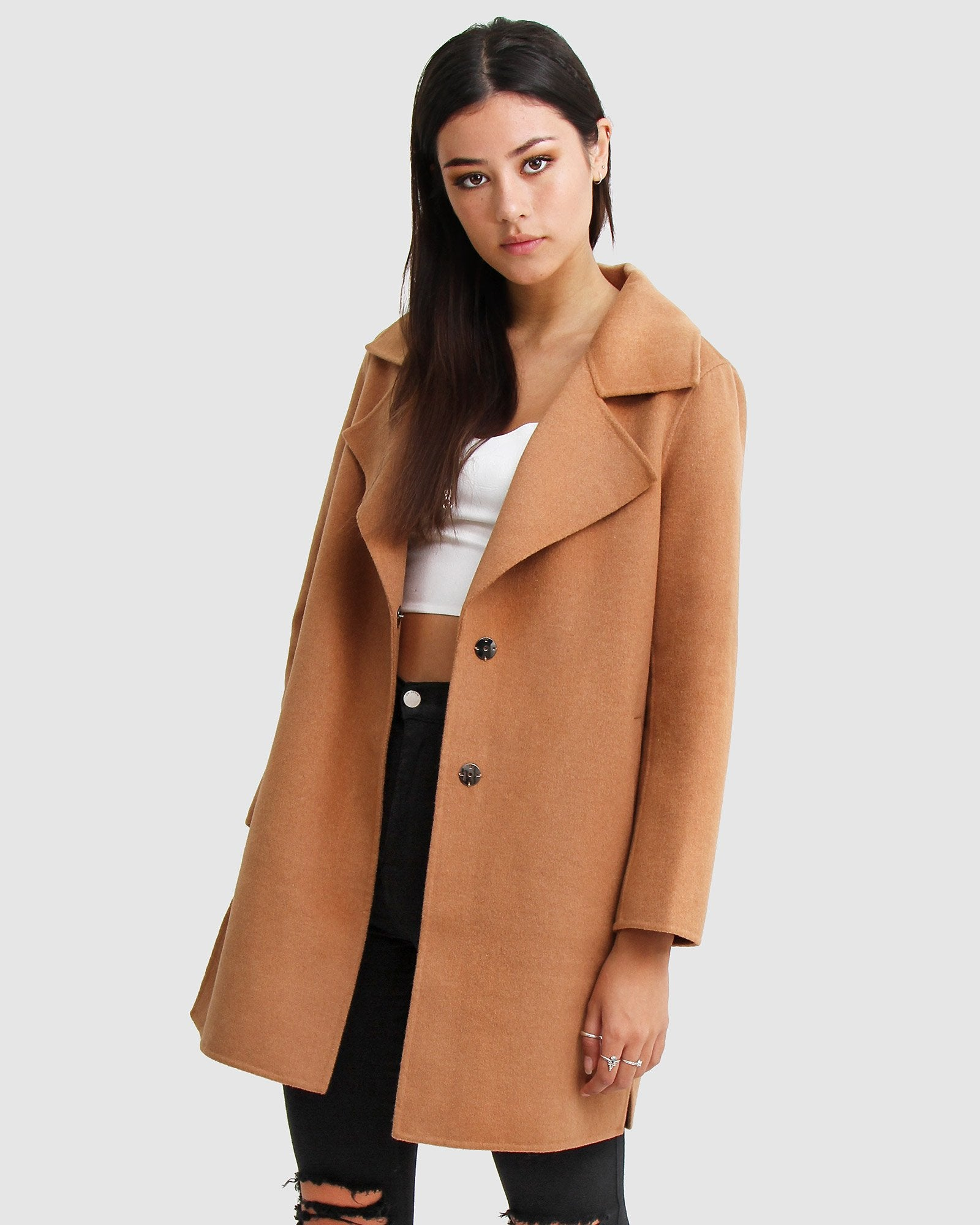 Ex-Boyfriend  Wool Blend Oversized Jacket - Camel