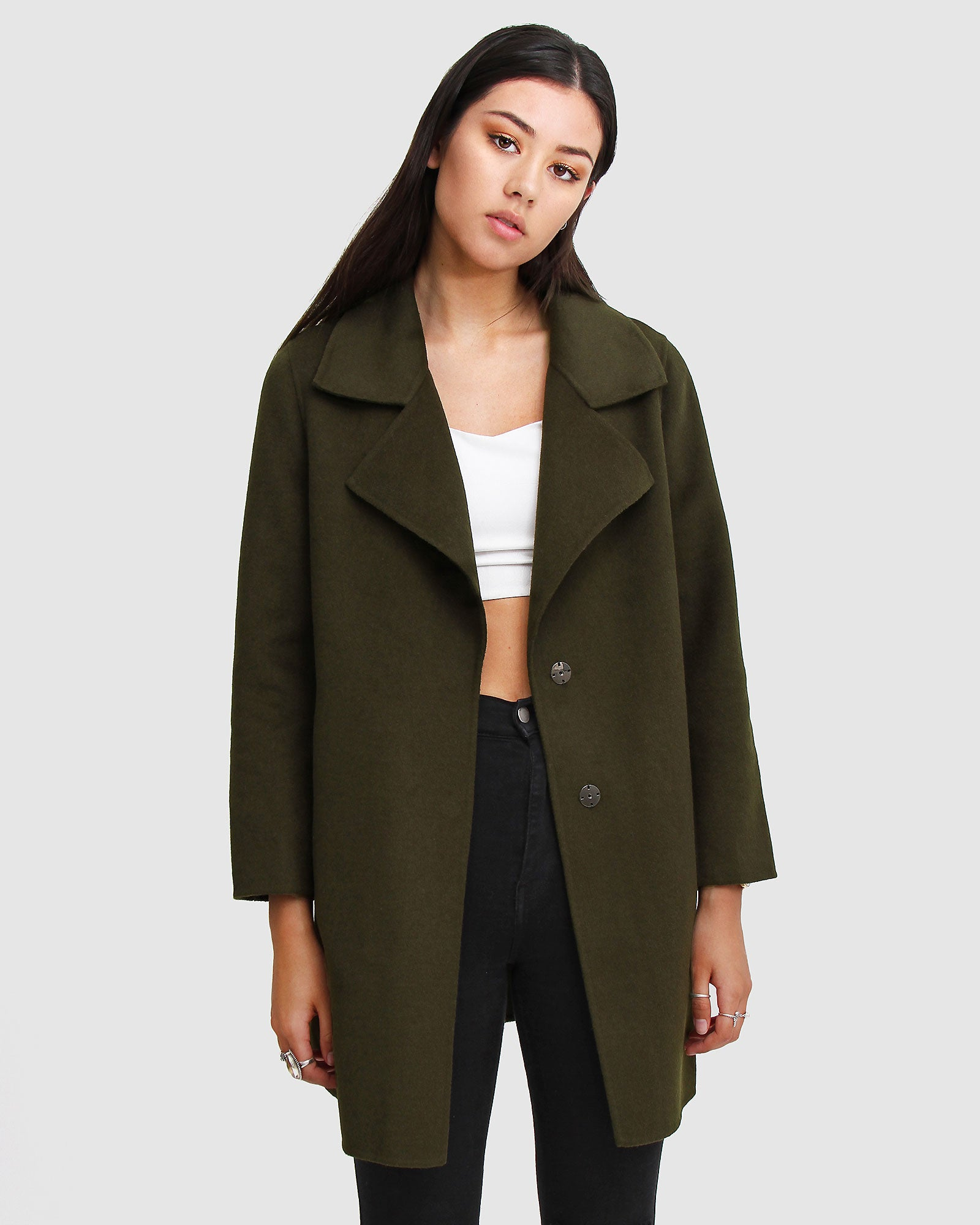 Ex-Boyfriend  Wool Blend Oversized Jacket - Military Green