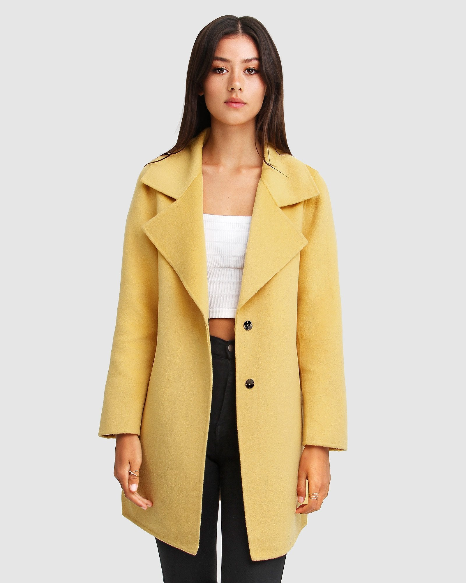Ex-Boyfriend Wool Blend Oversized Jacket - Maize