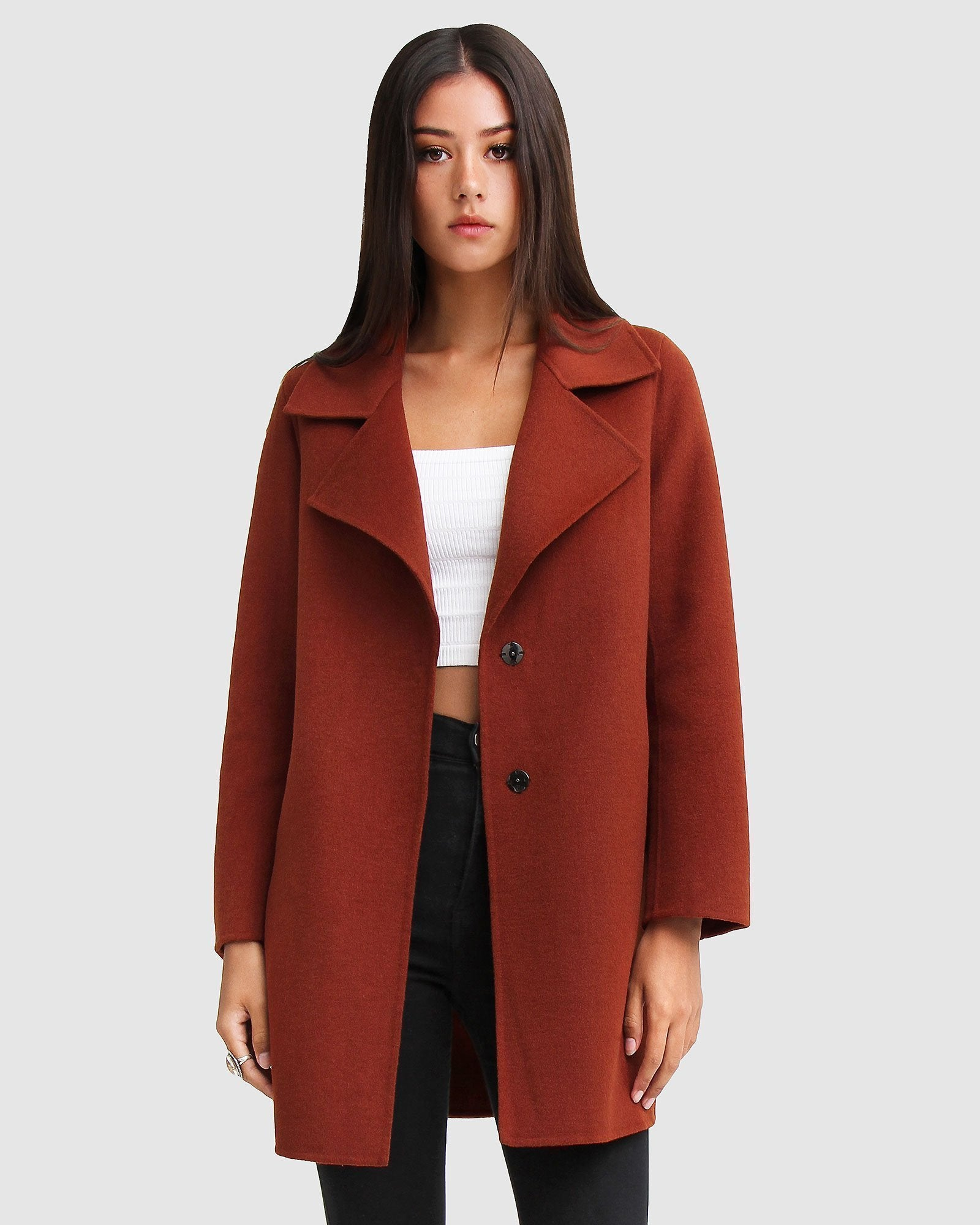 Ex-Boyfriend Wool Blend Oversized Jacket - Caramel