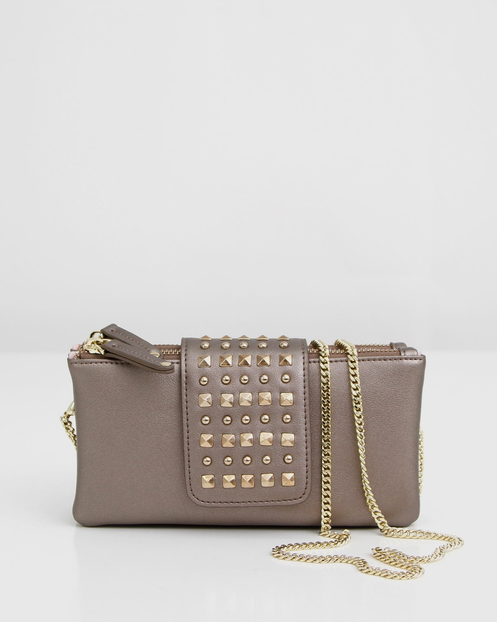 Loveland Leather Cross-Body Purse - Metallic Grey