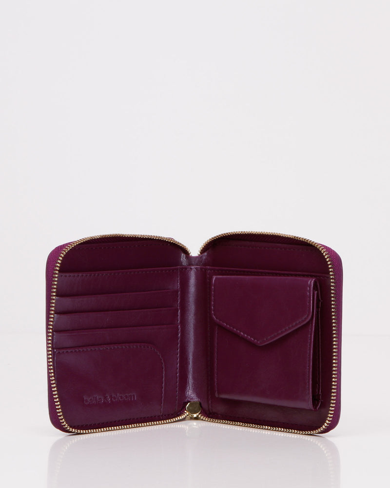 Nora Leather Wallet - Purple